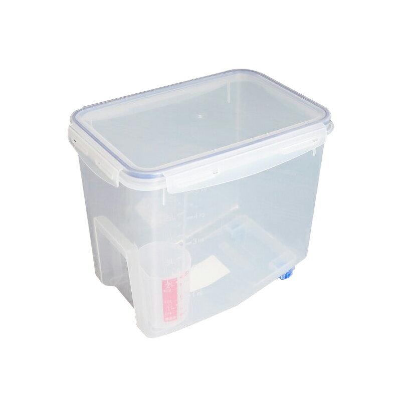 聯府天廚保鮮米桶附輪米箱7L儲米桶贈量杯飼料桶KI-D7000-大廚師百貨
