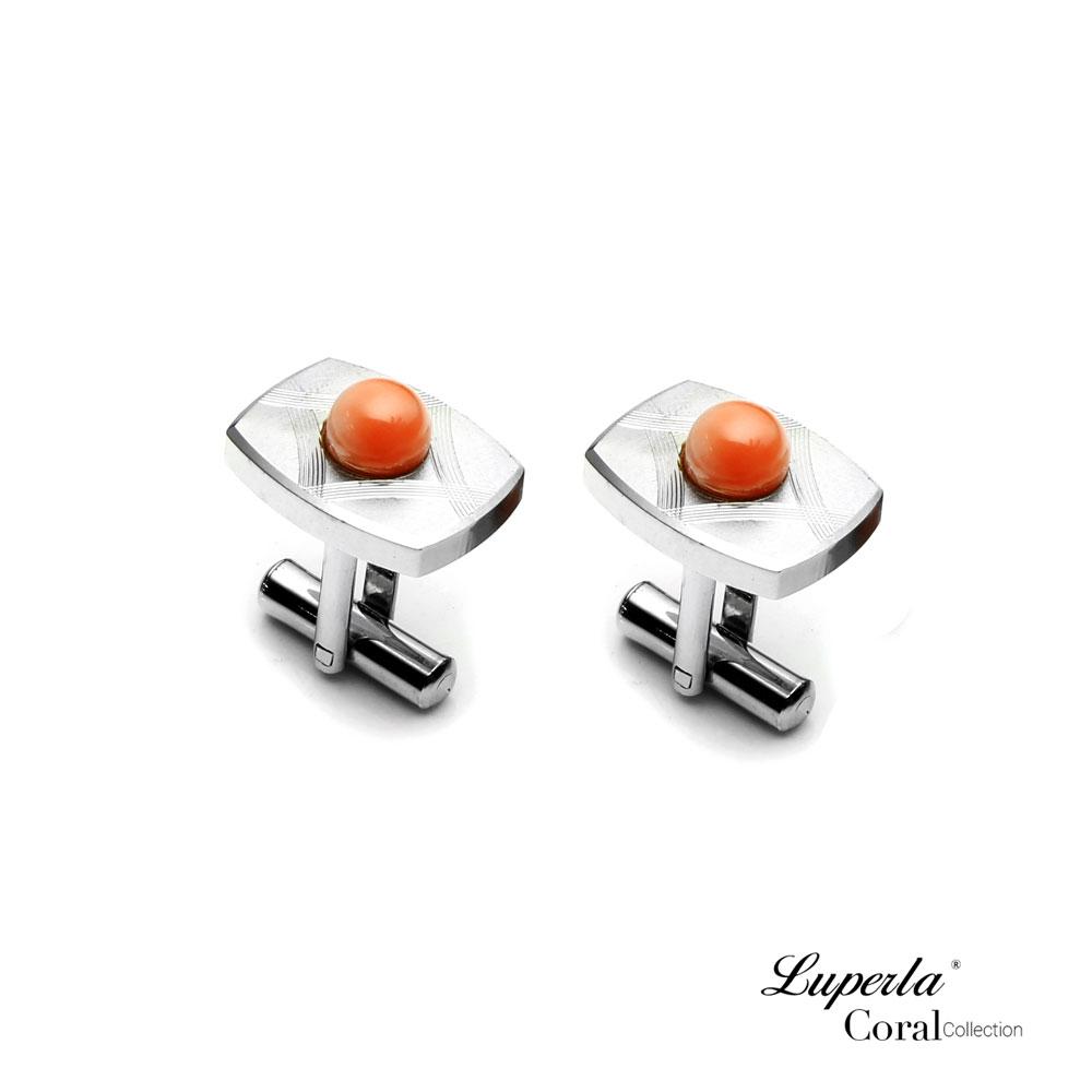 大東山珠寶 簡約線條 仕紳系列 天然粉珊瑚  西裝領徽 袖扣 0