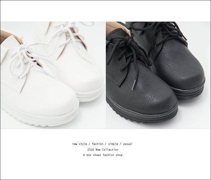 格子舖*【AA6616】MIT台灣製 嚴選反摺透氣皮革 柔軟乳膠鞋墊 繫帶4.5CM厚底鬆糕鞋 2色 2