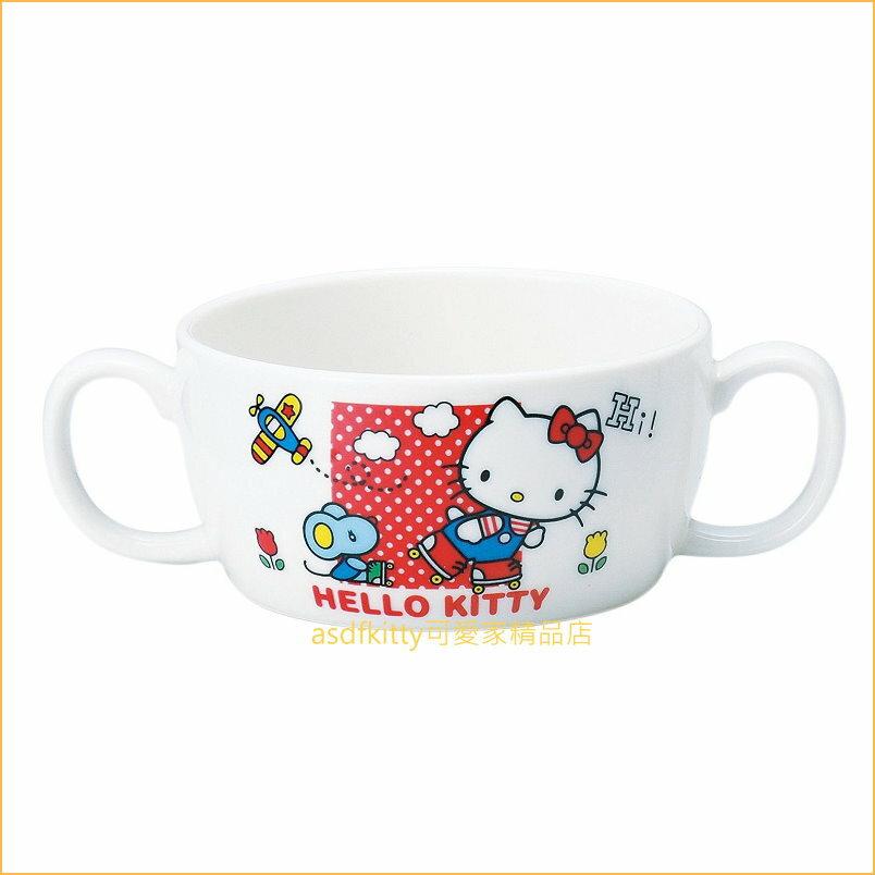 asdfkitty可愛家☆日本金正陶器 KITTY小老鼠陶瓷雙耳湯杯/湯碗-337329-可微波-日本製