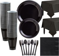 Black Plastic Tableware Kit for 50 Guests, Party Supplies