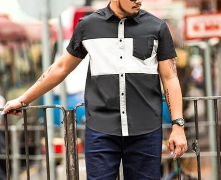 FINDSENSEZ1日系大尺碼時尚街頭潮男裝短袖襯衫黑白拼接胖子短T短袖T恤加大號到7XL