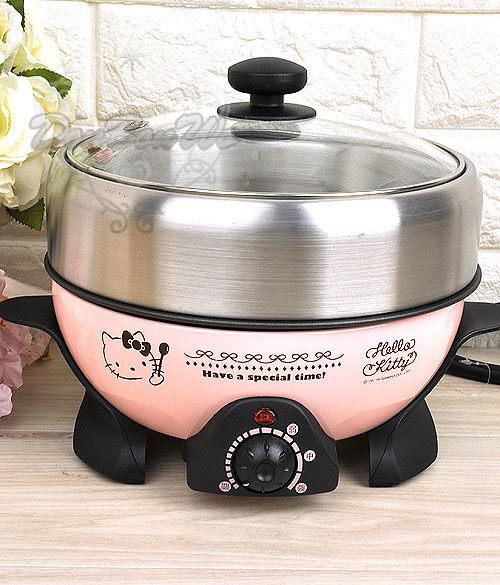KITTY火鍋煎煮蒸炒一機多功能電火鍋壽喜燒粉OT-520熱門