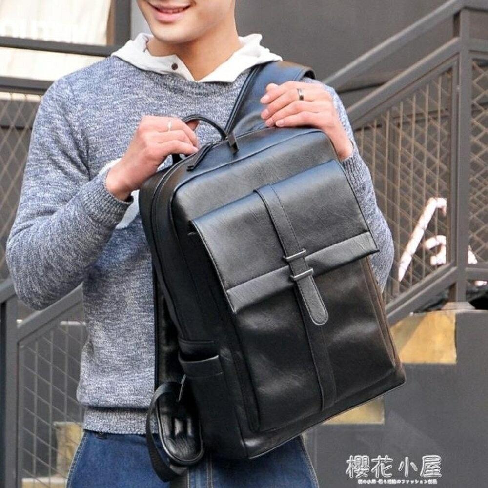 潮流時尚休閒青年雙肩包男士背包日韓版大容量黑色PU皮書包男林之舍家居