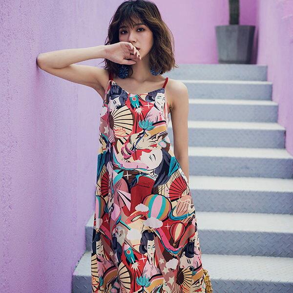 PS Mall 海邊度假連身裙 復古印花裙 洋裝【T385】 2