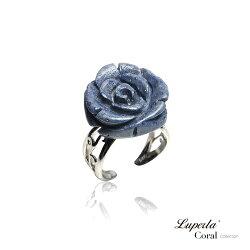 大東山珠寶 深海玫瑰 珍貴天然深海藍珊瑚純銀戒指