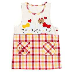三麗鷗 Kitty削肩格紋防汙圍裙 Melody 小叮噹 大臉造型 日貨 正版授權J00030360