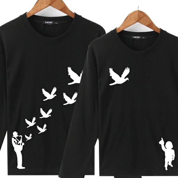 ◆快速出貨◆長袖T恤.情侶裝.班服.MIT台灣製.獨家配對情侶裝.客製化.純棉長T.飛鳥 歸巢 鴿子天空飛【YL0472】可單買.艾咪E舖 1