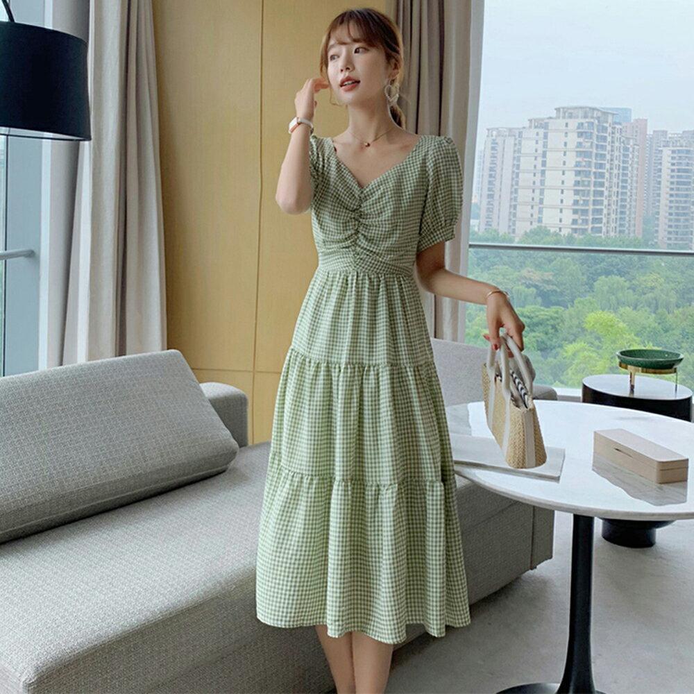 方領格子連身裙洋裝(2色S~XL)*ORead* 0