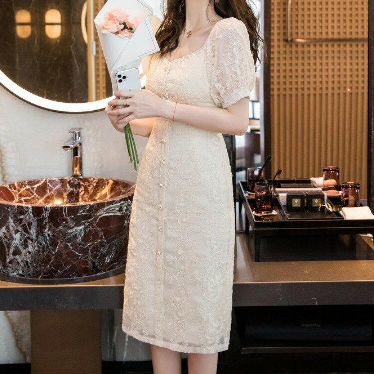 跨境2021夏季新款法式小衆刺繡蕾絲花邊顯瘦氣質名媛風連衣裙9001