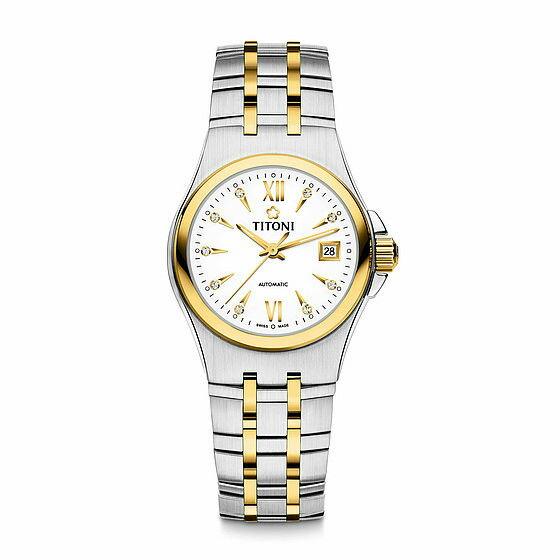TITONI瑞士梅花錶動力系列23730SY-271自動機芯時尚腕錶金銀27mm