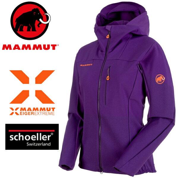 Mammut長毛象軟殼外套登山夾克極限系列EisfeldLightSO女款1011-000306234黎明紫