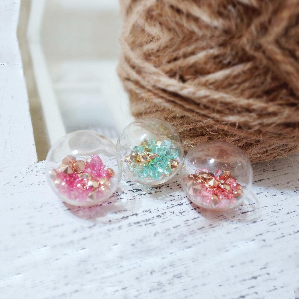 亮鑽玻璃球花朵耳環(3色) 5