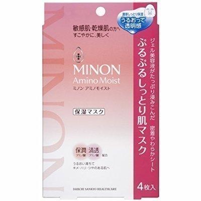 香水樂園:日本MINONaminomoist保濕面膜9種氨基酸保濕面膜4枚入盒裝片狀凍膜◐香水綁馬尾◐