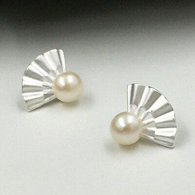 925純銀耳環珍珠耳飾~高貴典雅扇形 七夕情人節 女飾品73gq15~ ~~米蘭 ~