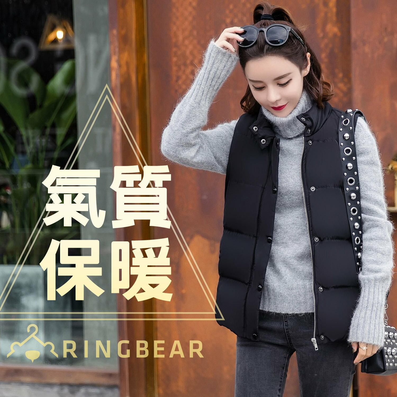 保暖背心--簡約時尚立領拉鍊排釦側邊口袋顯瘦剪接羽絨棉背心(黑XL-4L)-J324眼圈熊中大尺碼 0