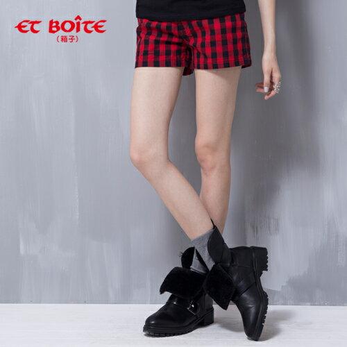 紅黑配格子短褲 - BLUE WAY ET BOiTE 箱子