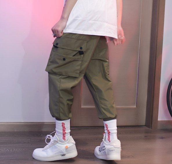 FINDSENSEZ1韓國男時尚街頭嘻哈休閒寬鬆大口袋工裝休閒褲長褲束口褲小腳褲