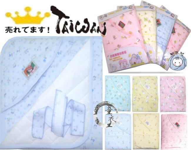 童衣圓 【K029】K29白兔包巾 台灣製 新生兒 鋪綿 厚綿 厚包巾 抱被 小被 嬰兒毯 固定帶 彌月