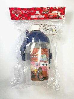 日本 迪士尼 Cars 閃電麥坤 按壓吸管水壺 270ml 附揹帶 *夏日微風*
