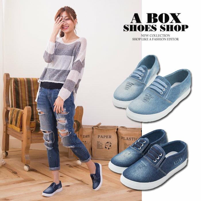 【AW357】嚴選中性流行單品 造型鞋帶 牛仔布刷白破壞 帆布布面鞋 懶人鞋 2色 1