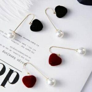 美麗大街【GE474】韓版飾品青春美少女系絨面立體心形後掛式珍珠耳環耳飾品