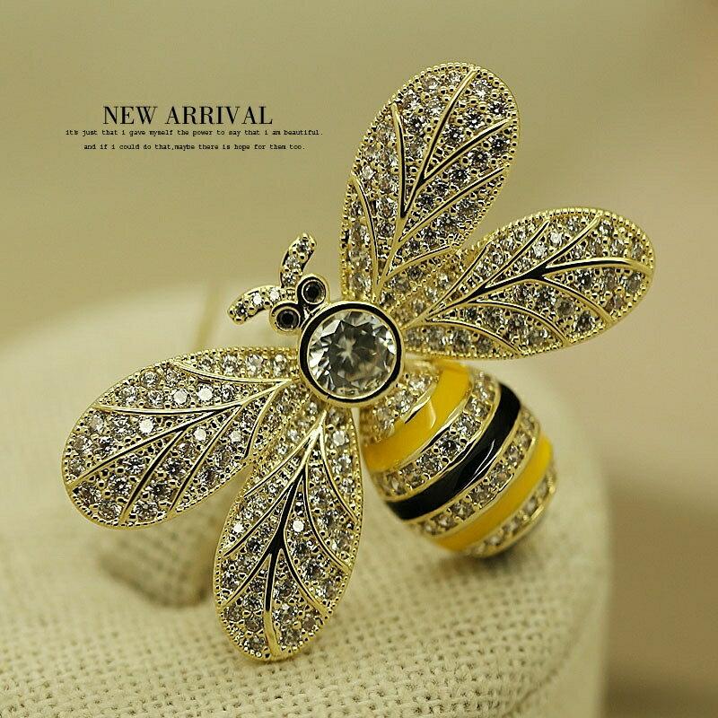 XZ520彩釉水晶蜜蜂韓版胸針女高檔胸花飾品絲巾外套大衣別針 秋冬新品特惠