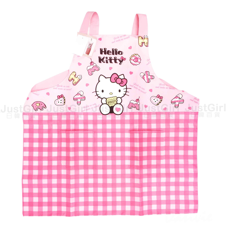 JustGirl日韓百貨 圍裙 三麗鷗 Sanrio Hello Kitty 長圍裙 正版授權