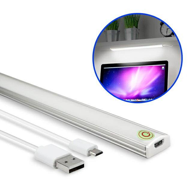 USB觸控開關式 超薄型LED可調光鋁合金燈管 白光 LED燈 探照燈 工作燈 手電筒 USB檯燈 電腦燈 - 限時優惠好康折扣