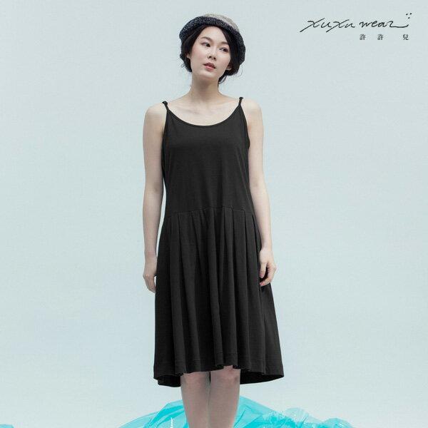 許許兒:許許兒∵大自然的更衣室內搭純棉洋裝-黑色影子