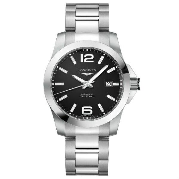 LONGINES浪琴錶L37774586征服者系列優雅經典腕錶黑面41mm
