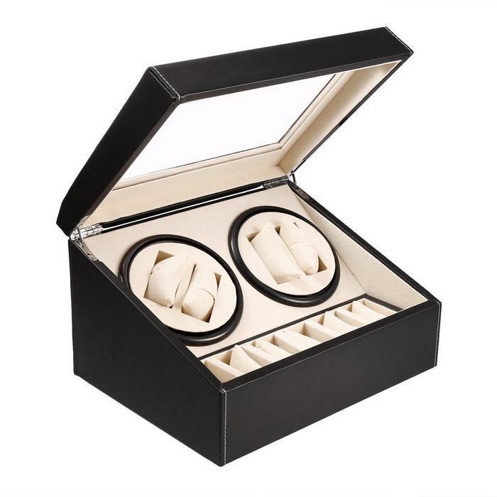 Automatic Watch Winder 4+6 Slot Leather Storage Rotation Case Display Box Organizer 2