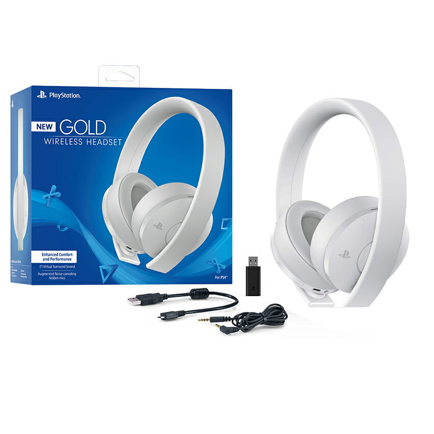 Sony PlayStation Gold Wireless Headset 7 1 Surround Sound PS4 - White