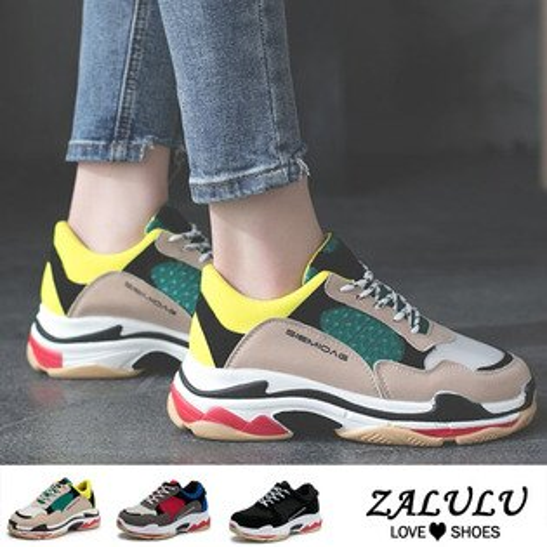 ZALULU愛鞋館7CE246色彩青春活力款休閒布鞋-偏小-綠紅黑-36-40