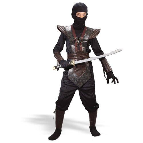 NINJA FIGHTER LEATHER CHILD COSTUME - Child Medium - Black