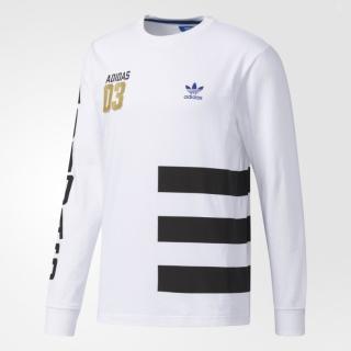 [尋寶趣] Adidas Originals 白色金標 三條線 三葉草 經典 大學T 長袖上衣 BQ0894