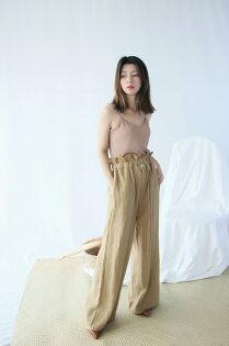 Budodo 布朵朵:純色荷葉高腰棉麻寬口褲
