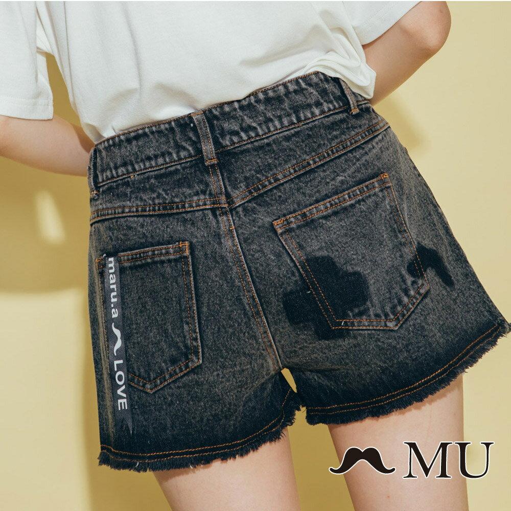 【MU】符號刷色抽鬚牛仔丹寧短褲(2色)8325161 3