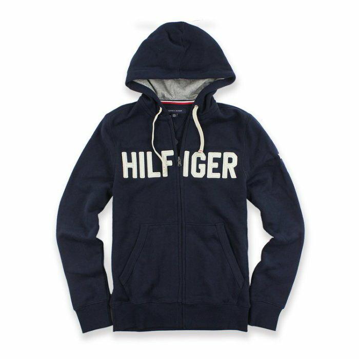 美國百分百【全新真品】Tommy Hilfiger 經典款 TH 棉質 連帽 外套 夾克 深藍 男 XS號 I677