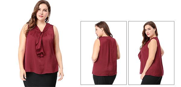 6d4d15723cf Unique Bargains Women s Plus Size V Neck Ruffle Front Sleeveless Top 1