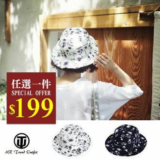 帽子~UTO~ 椰子樹圖案休閒漁夫帽遮陽帽 ^(現 預^)