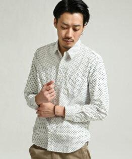 日本製長袖襯衫圓點WHITE