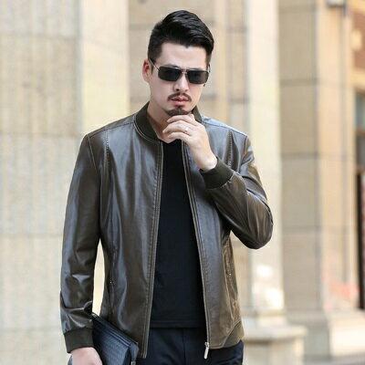 皮衣夾克外套-冬季立領純色短款男夾克4色73pn11【獨家進口】【米蘭精品】 2