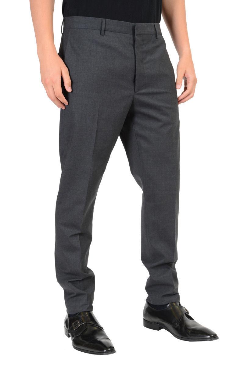 98467f2d Prada Men's Gray Flat Front Wool Dress Pants Size US 36 IT 52