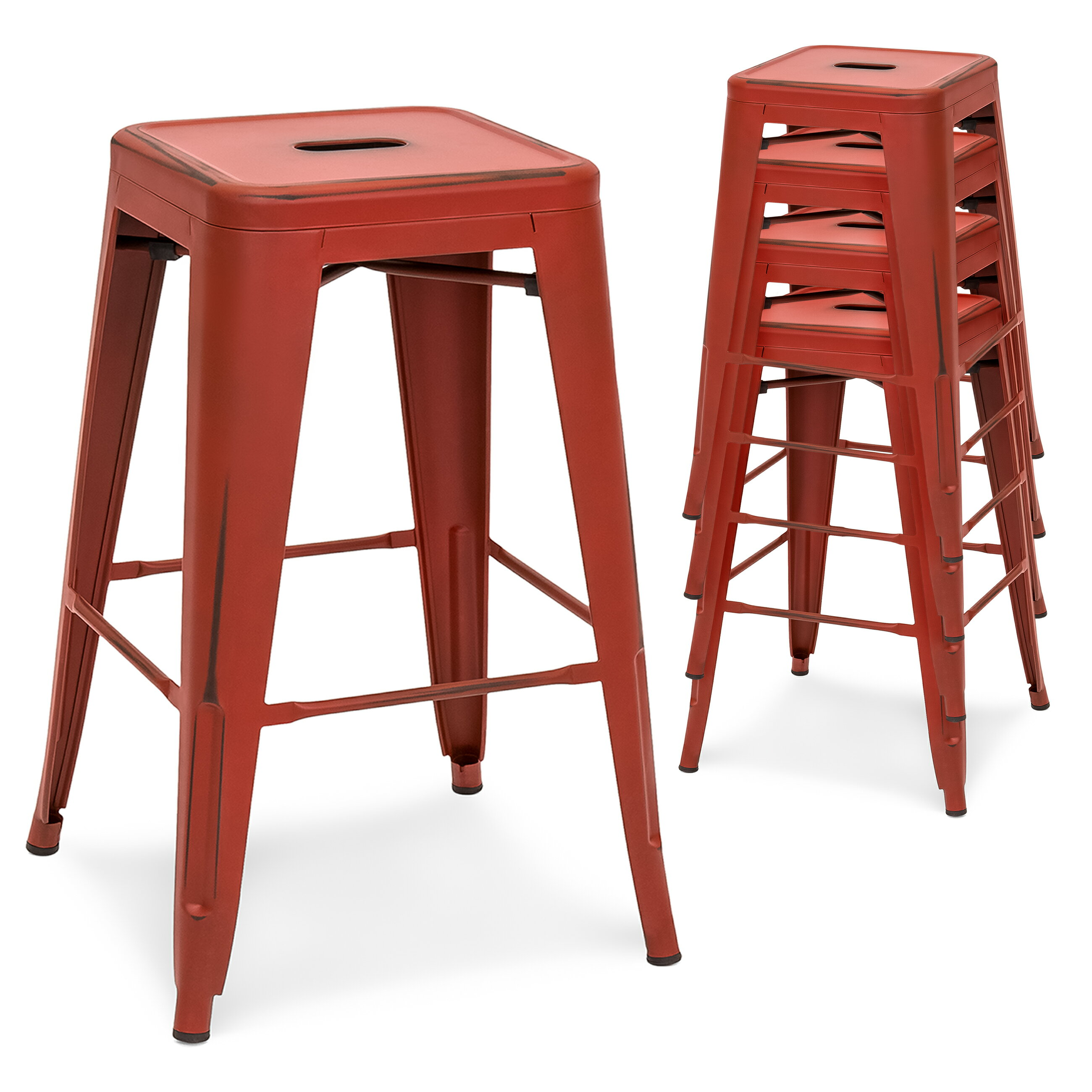 16b4203bb75a3 Best Choice Products 24in Set of 4 Stackable Modern Industrial Distressed Metal  Counter Height Bar Stools