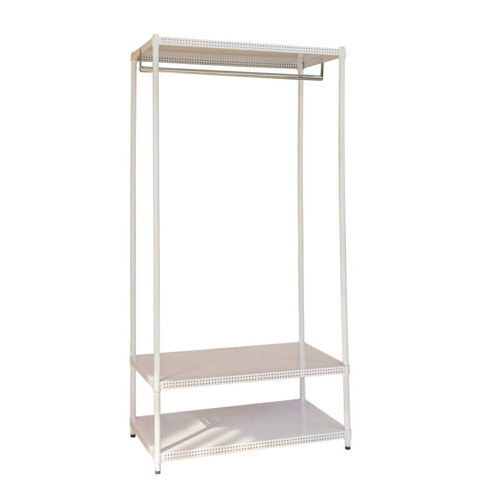 鐵架衣櫥/衣架 極致美學 90x45x180cm 沖孔烤漆白三層單桿衣櫥 dayneeds 台灣製造