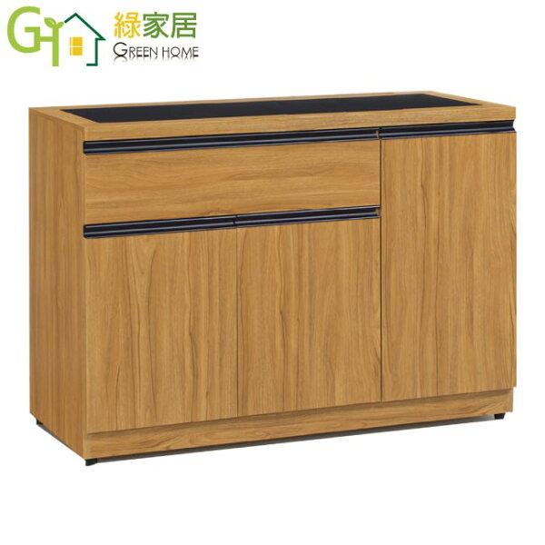 【綠家居】杜納時尚3.8尺木紋玻璃餐櫃收納櫃