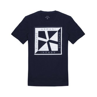 美國百分百【Armani Exchange】T恤 AX 短袖 logo 短T 上衣 T-shirt 設計 深藍 H842