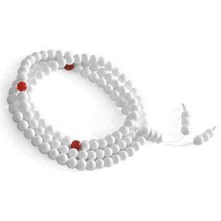 白硨磲108顆佛珠手鏈念珠 多層手鏈 白硨磲搭配紅瑪瑙隔珠