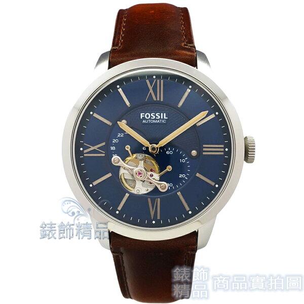 【錶飾精品】FOSSIL手錶ME3110鏤空機械男錶藍面咖啡色錶帶44mm全新原廠正品